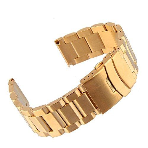 Beauty7 18/20/22/24 mm Bande Bracelet de Montre Boucle Deployante en Acier Remplacement Bande de Poignet Etanche Dore Homme Femme