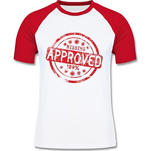 lustige Sprüche - Kissing approved - L140 Männer Raglan Baseball Shirt Weiß/Rot
