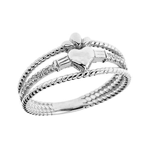 Kleine Schätze Damen Ring Modern Claddagh Diamant in 10 Karat Weißgold