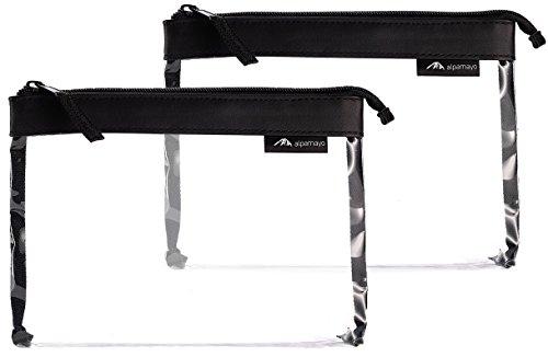 Alpamayo® 2er Set transparenter Kulturbeutel, Kulturtasche für Handgepäck auf der Reise, durchsichtige Kulturtasche mit 1 Liter Volumen zum Transport von Flüssigkeiten im Flugzeug - Durchsichtigen Kunststoff-beutel