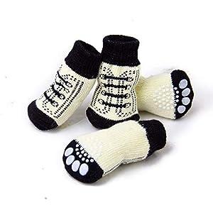 XSM Chaussettes pour Chiots d'animaux Chaussettes pour Chiens Mignons Chaussettes antidérapantes Idéal pour protéger Les Surfaces intérieures S Taille 2 Paire Blanc