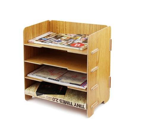 Ablagesystem modern aus Holz Ablageboxen mit 4 Fächer Büro Schreibtisch Arbeitszimmer Dokumentenablage Schreibtischorganizer Dateihalter für A5 Rechnung Dokumenten Bücher Briefe papier Zeitschriften
