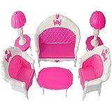 Set Lámpara Mesa Sofá Muebles Miniatura Accesorios para Casa de Muñecas Barbie