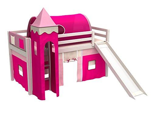 Cama juego,cama niños,de alta,cama tobogan,torre,tunel,2