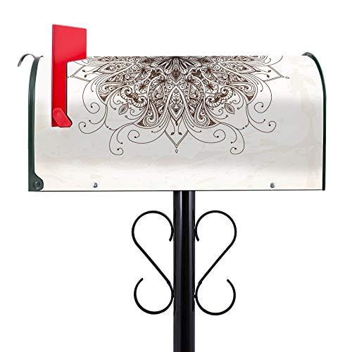 BANJADO US Mailbox | Amerikanischer Briefkasten 51x22x17cm | Letterbox Stahl Grün | mit Motiv Mehendi | inklusive schwarzem Ständer -