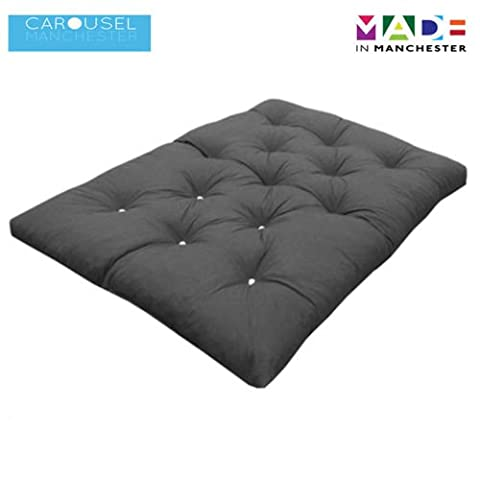Triple   3 Seater   Memory Foam Futon Mattress   Roll Out Bed   Guest Bed   Grey   190cm x 140cm   UK Manufactured   9 Colours Available   3 Sizes Available