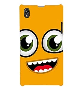 Fuson Designer Back Case Cover for Sony Xperia Z1 :: Sony Xperia Z1 L39h :: Sony Xperia Z1 C6902/L39h :: Sony Xperia Z1 C6903 :: Sony Xperia Z1 C6906 :: Sony Xperia Z1 C6943 (Yellow Smiley EMoticon Expression Scared fearful)
