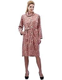 RAIKOU Damen Hausmantel Bademantel Hauskleid mit Knopfleiste Design in Ausbrenntechnik mit Leo-Druck