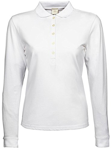 Tissu stretch pour femme manches longues Polo Blanc - Blanc