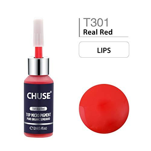 CHUSE T301 echte rote Microblading Micro Pigment Permanent Make-up Tattoo Ink kosmetische Farbe bestanden SGS, DermaTest 12 ml (0.4fl.oz)
