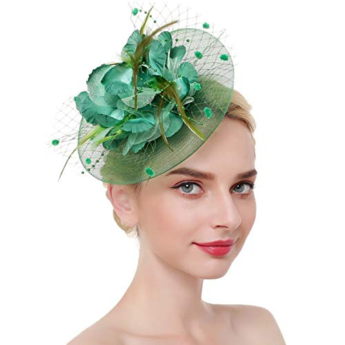 Airrioal Fascinator Hut für Frauen Clip Pillbox Hut Bowler Feder Blume Tee Party Stirnband - grün - Stil 2 (Bowler Hut Frauen Kostüm)