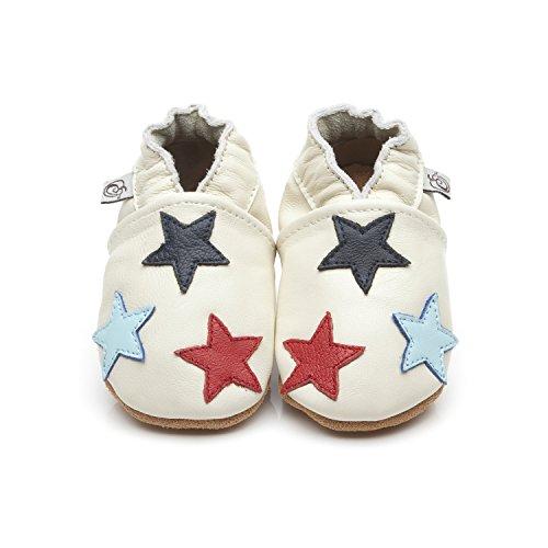 Morbida cuoio bambino calzature stelline crema 2-3 anno
