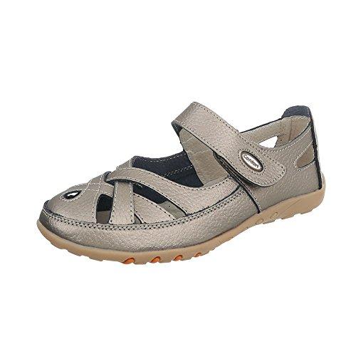 Ital-Design Riemchensandalen Leder Damen-Schuhe Klettverschluss Sandalen & Sandaletten Grau Silber, Gr 41, 7809- (Schuhe Silber Grau-metallic)