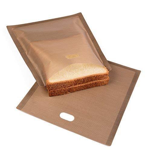 Toasterbeutel | Toaster Bags | Perfekt für gegrillte Käsebrote oder Toast | Glutenfreie Diät | Antihaftbeschichtet, wiederverwendbar, einfach in Mikrowelle und Toaster zu verwenden (Set of 6)