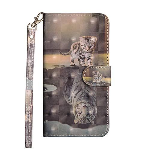 Sunrive Hülle Für WileyFox Spark X, Magnetisch Schaltfläche Ledertasche Schutzhülle Etui Leder Case Cover Handyhülle Tasche Schalen Lederhülle MEHRWEG(Katze Tiger)