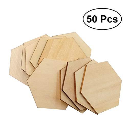Healifty - Piezas hexagonales Madera Haya Manualidades