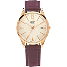 Henry London Unisex Hampstead Quartz Watch with White Dial Analogue Display and Purple Leather Strap (Certified Refurbished)