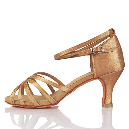 VASHCAME - Donna Scarpe da Ballo Latino/Sala da Ballo/Standard Tacco 5cm/7cm Beige 37 (Tacco-7cm)