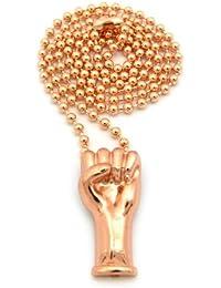 Significatif collier couleur or rose à micro pendentif d'un poing levé, chaîne à balles l.3 mm L.68,6 cm MMP36RG