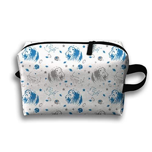 Makeup Cosmetic Bag Lions Grey U00Blue_66181 Medicine Bag Zip Travel Portable Storage Pouch for Mens Womens 10x4.9x6.3 ()