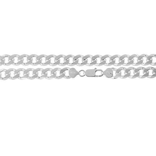 KEZEF Creations Herren 10,5 mm 925 Sterling silber kubanischen Bordstein Link Kette Armband 9 Zoll