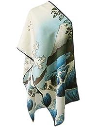 Prettystern P783 - 160cm Gravure sur bois en couleur Foulard de soie de Japon Art - Hiroshige - Trente-six vues du mont Fuji