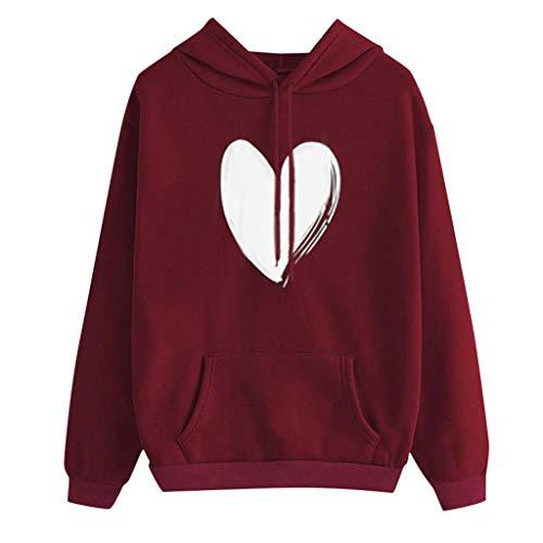 Mymyguoe Womens Herbst Langarm Hoodie Sweatshirt Buchstaben Kapuzenpullover Tops Bluse Kapuze dünne Pullover Shirt Lose Shirt Top Damen Frauen Langarm Pullover Sweatshirt -