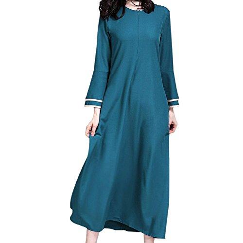 Xinvision Bescheiden Mittlerer Osten Muslim islamisch Damen Robes Arabien Maxi Kleid Trompetenärmel Türkei Kirche Gebet Ethnische Kleidung Kaftan Apparel Abaya Mädchen Verschleiß für Ramadan,090# (Maxi Kleider Bescheiden)