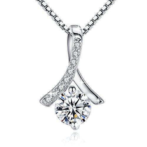 Jessibox Damen Halskette mit Anhänger aus 925 Sterling Silber, Einfach Design mit Rund Stein, 45cm Italien Silberkette mit Schmuck Box Geschenke für Valentinstag Geburtstag Hochzeit