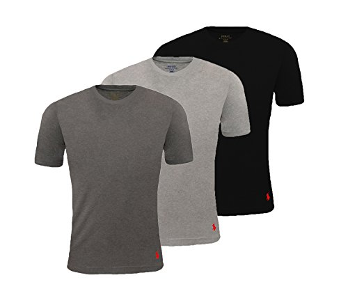 Ralph Lauren Herren Unterhemd Rundhals Classic Fit & Größe 3er Set, Größe:XL, Farbe:Schwarz Grau Anthrazit Ralph Lauren Classic-t-shirt