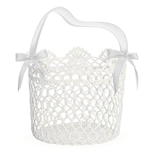 Unomor Hochzeit Blumenkinderkörbchen mit Band 12,7x12,7x12,7 cm (Weiß)