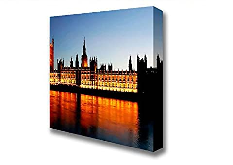 Square Reflections Of London Houses Of Parliament Night Lights Canvas Art Prints - Extra Large 40 x 40 inches