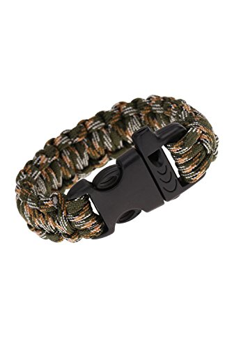 TOOGOO(R)Paracord Fallschirm-Schnur notfallmaessig Ausstattung ueberleben Armband Seil mit Pfeife Schnalle fuer Outdoor Camping Camo-4 (Camo Pfeife)
