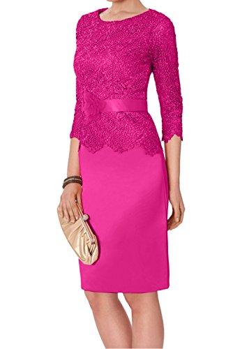 Ivydressing Damen Rund Wassermelone Spitze Etui 2017 Cocktailkleider Kurz Abschluss Abendkleider Partykleider mit Arm Fuchsia