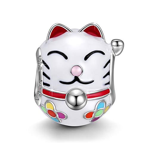 NINAQUEEN® Charms/Stille Teezeit/ 925 Silber, Vergoldung, mit Schmuckkasten, Beste Wahl für Weihnachten! (Lächelnde Katze)
