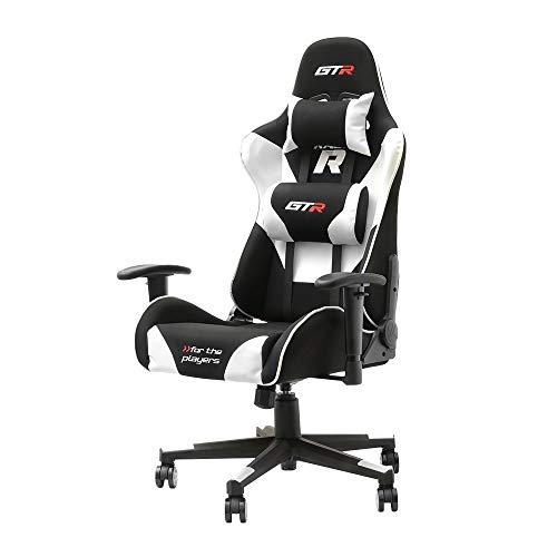 Selsey Racer GTR – Gaming-Stuhl/Gamer-Stuhl/Computerstuhl/Chefsessel mit verstellbaren Kissen (schwarz-weiß)