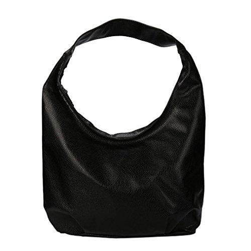 Elecenty Tote Hobo Umhängetaschen Damen/Schultertaschen Einkaufstaschen Frauen/ Handtasche Mädchen/ Shopper Tragetaschen/Solide Tasche /Bag Taschen/ Reißverschluss Ledertasche (33cm, Schwarz) (Tasche Solide Große)