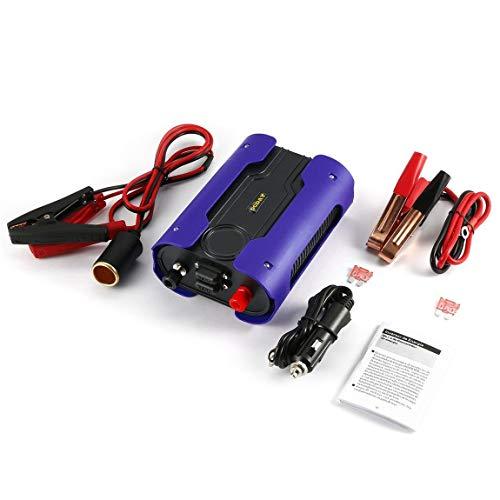 LESHP 500W Reine Sinus Wechselrichter DC 12V bis 110V 220V AC Autokonverter mit 2 USB-Anschlüssen für Haushaltsgeräte, blau (110 Bis 220 Stromversorgung: Konverter)