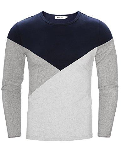 KAIUSI Herren Colorblock Rundkragen Freizeitshirt Langarmshirt Blau-Grau Small (Colorblock Crewneck Pullover)