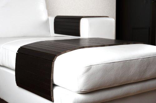 moebelhome Sofatablett groß 80cm ~ Ablage Tablett SCHWARZ für Hocker oder Longchair Couch Tablett Sofaschoner NEU