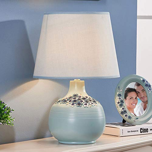 XXIONG Nordic Tischlampe Einfache Daisy Nachttischlampe Grün Harz Reine Schlafzimmer Schreibtischlampe Wohnzimmer Lampe, Hohe 45cm E27(Nicht enthalten) (A) -