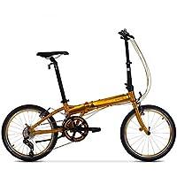 Monociclos Bicicleta Plegable Bicicleta Unisex 20 Pulgadas Rueda Ultraligera Bicicleta Adulta portátil (Color : Gold, Size : 150 * 32 * 107cm)