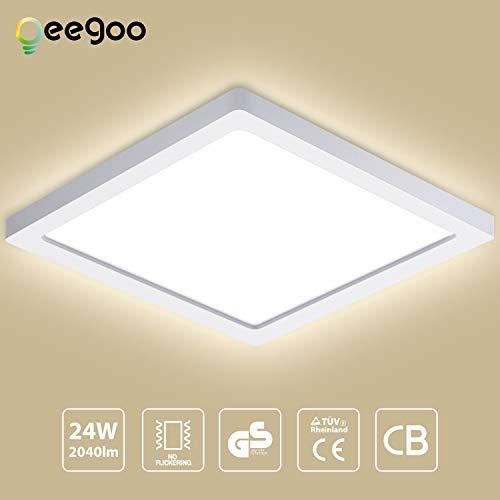 Oeegoo 24W LED Plafón de Superficie Cuadrado Lámparas de Techo 2040 Lúmenes Reemplaza Bombilla Incandescente 180W RA> 80 Blanco Natural(4000-5000K) 29 * 29*H1.3CM para Dormitorio Cocina