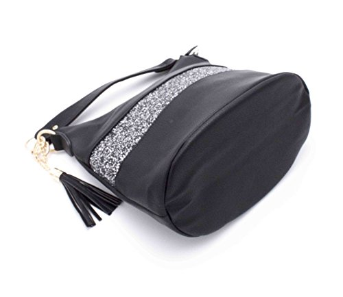 Gallantry–Handtasche/Umhängetasche/Rucksack mit Pailletten für Damen Blau