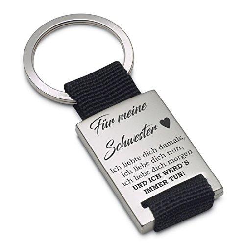 Lieblingsmensch Ich liebte dich damals – Schwester Schlüsselanhänger, 12 cm, Schwarz