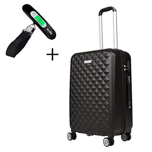 Kofferset-Hartschalenkoffer-Koffer-Suitcase-Reisekoffer - Koffer Set Reisekoffer 4 Rollen Luggage Hartschale Trolley Handgepäck Rollkoffer Urlaub Leichtgewicht gepäck (M-L-XL-Set) (Schwarz, XL)