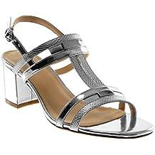 Angkorly - Chaussure Mode Sandale ouverte lanière cheville femme peau de serpent brillant lanière Talon haut bloc 7.5 CM - Argent - 3PSYuCIkf