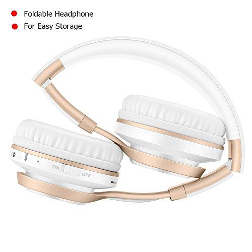 Bluetooth Over-Ear Kopfhörer, EONANT 4 in 1 BT-08 4.0 Bluetooth Wireless Headset Faltbarer Kopfhörer mit Mikrofon mit Mikrofon / FM / TF Karte / AUX für PC TV Smart Phones & Tablets (White-Gold) - 8