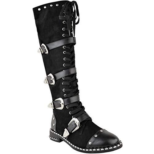 Heel Platform Knee Gothic Stiefel (Womens Ladies Knee High Boots Studded Punk Grunge Rock Spikey Winter Calf Shoes)