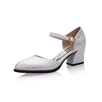 AllhqFashion Women's Assorted Color Pu Kitten Heels Pointed Closed Toe Buckle Pumps Shoes, White, 37